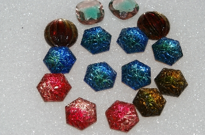 "+MBA #S25-260   ""Vintage Lot Of 15 Very Fancy Large Glass Rhinestones"""