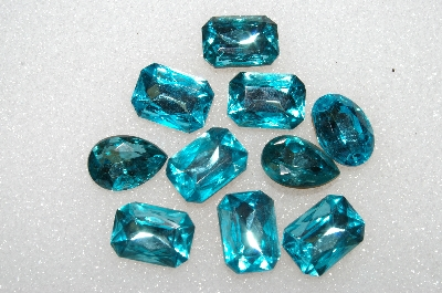 "+MBA #S25-173   ""Vintage Lot Of 10 Large Faceted Aqua Blue Glass Rhinestones"""