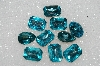 "MBA #S25-173   ""Vintage Lot Of 10 Large Faceted Aqua Blue Glass Rhinestones"""