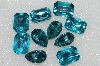 "MBA #S25-186   ""Vintage Lot Of 10 Large Aqua Blue Faceted Glass Rhinestones"""