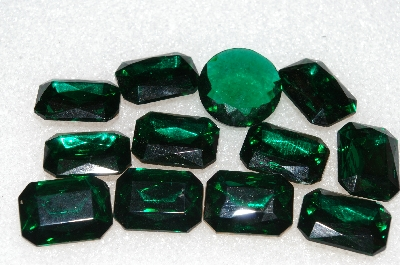 "+MBA #S25-192   ""Vintage Lot Of 12 Dark Green Faceted Large Glass Rhinestones"""