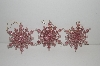 "MBA #S29-257     ""Set Of 5 Clear Acrylic Pink Glittered Snow Flake Ornaments"""