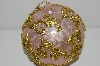 "MBA #S29-227   ""Fancy Large 5"" Pink & Gold Filigree Chirstmas Ornament"""