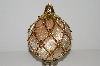 "MBA #S29-253   ""Fancy Velvet Tan & Gold Large Pineapple Ornament"""