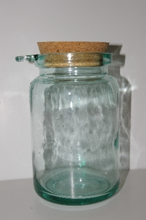 "**MBA #S30-149   ""1980's Large Green Glass Canister With Cork Top & Wooden Spoon"""