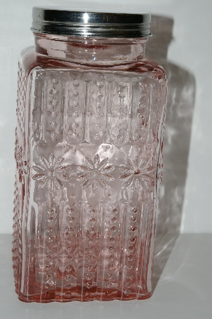 "**MBA #S29-099L    ""2003 Fancy Pink Glass Canister Jar"""