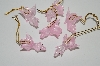 "MBA #S29-112   ""Set Of 6 Hand Made Pink Glass Flying Pig Ornaments"""