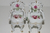 "MBA #S29-146   ""Set Of 2 Victoria's Garden Porcelain  Pink & Red Rose Chair Ornaments"""