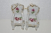 "MBA #SSB-014   ""Set Of 2 Victoria's Garden White Porcelain Red & Pink Square Bottom Rose Chair Ornaments"""