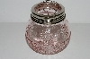 "**MBA #S29-212   ""2003   Fancy Small Pink Glass Frog Jar"""