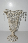 "+MBA #S29-048   ""Older Antiqued White Metal Vase With Acrylic Beads & Glass Insert"""