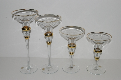 "**MBA #S29-052    ""1980's Set Of 4 Clear Glass & 14K Gold Trim Candlestick Holders"""
