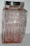 "**MBA #S29-099   ""2003 Fancy Embossed Pink Glass Jar """