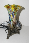"+MBA #S29-075   ""2002 Fancy Multi Colored Glass Shade Three Horn Angels Table Lamp"""