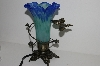 "+MBA #S29-082   ""2002  Blue/Green Glass Shade Butterfly Table Lamp"""