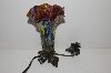 "+MBA #S29-090   ""2002  Fancy Purple & Multi Colored Glass Shade Angel Table Lamp"""