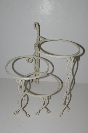 "MBA #S29-008   ""2002 White Wrought Iron 3 Flower Pot Stand"""