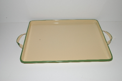 "MBA #S29-023   ""2004 Tender Heart Yellow & Green Enameled Serving Tray"""