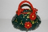 "**MBA #S29-216   ""Collectiable Green & Red Poinsetta Hand Bag Cookie Jar"""