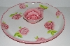 "**MBA #S29-207   ""White With Pink Roses  Zrike Everyday Rose Ceramic Chip & Dip Serving Platter"""