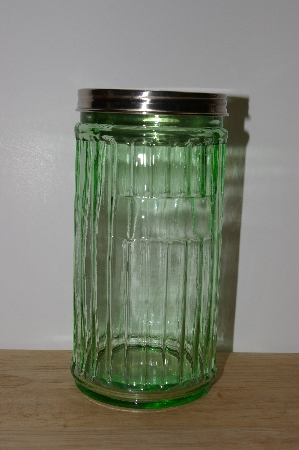 "**MBA #S30-271    ""2002 Depression Glass Green Storage Jar"""