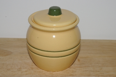 "+MBA #S30-319  Set Of 2   ""2004 By Tender Heart Yellow & Green Ceramic Condiment Dish With Lid"""