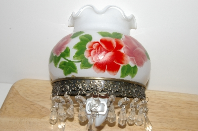 "MBA #S30-323   ""Older Hand Painted Glass Shade Rose Night Light"""