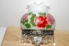 "+MBA #S30-323   ""2004 Hand Painted Glass Shade Rose Night Light"""