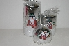 "MBA #S30-357   "" Set Of 3   Silver Snowman Shimmering Holiday Candles"""