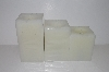 "+MBA #S30-367   ""2004 Set Of 3 Candle Impressions Square Flameless Vanilla Scented Candles"""