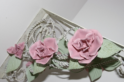 "MBA #S30-259  ""2001 Set Of 2 Antique White & Green 3 Pink Rose Metal Shelf Holders"""