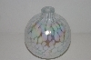 "+MBA #30-206   ""2002 White Opalecent  & Clear Glass Hand Blown Glass Oil Lamp"""