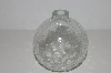"+MBA #S30-213   ""2002 Clear Cracked Glass Look Hand Blown Glass Oil Lamp"""