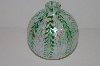 "+MBA #S30-203   ""2002 Opalecent & Green Hand Blown Glass Oil Lamp"""