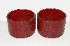 "MBA #S30-219   ""Set Of 2 Handmede Red Stained Glass Candle Holders"""