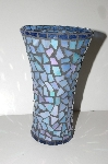 "MBA #S30-222   ""Handmade Blue Stained Glass Vase"""
