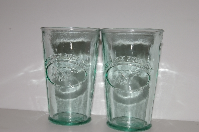 "**MBA #S30-229    ""1980's Set Of Two Green Glass ""Apsolutly Pure Milk"" Glass's"""