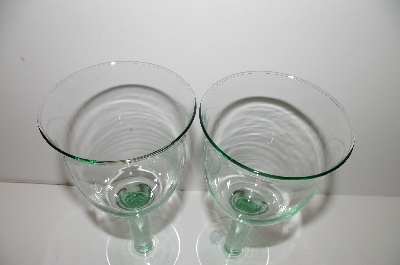 "**MBA #S30-110   ""Made In Spain Set Of 2 Large Green Glass Wine Glass's"""