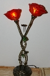 "+MBA #S30-114   ""Beautiful Double Red Rose Table Lamp"""