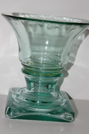 "**MBA #S30-135   ""1980's Made In Spain Green Glass Fancy Footed Dish"""