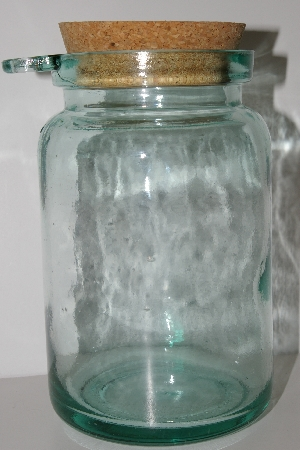 "**MBA #S30-150   ""1980's Made In Spain Large Green Glass Canister With Cork Top & Spoon Holder"""