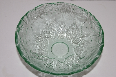 "**MBA #S30-140   ""1980's Sea Green Glass Grapes & Leaves Embossed Serving Bowl"""