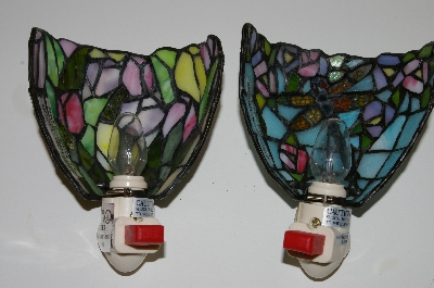 "MBA #S30-154   ""Set Of 2 Handcrafted Tiffany Style Nightlights With Light Sensors"""
