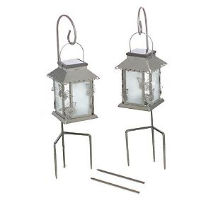 "MBA #S29-10042    ""Set Of 2 Silvertone Butterfly Solar Powered Lanterns With Sherperds Hooks"""