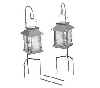 "+MBA #S29-10042    ""2003 Set Of 2 Silvertone Butterfly Solar Powered Lanterns With Sherperds Hooks"""