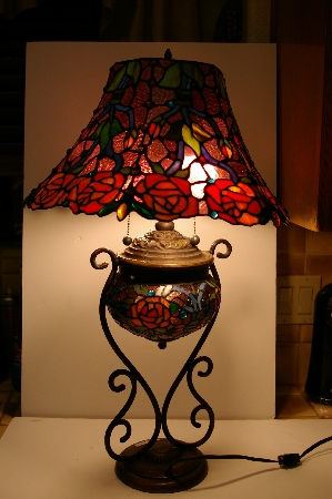 "**MBA #S30-009    ""Dreaming Rose Stained Glass Table Lamp"""