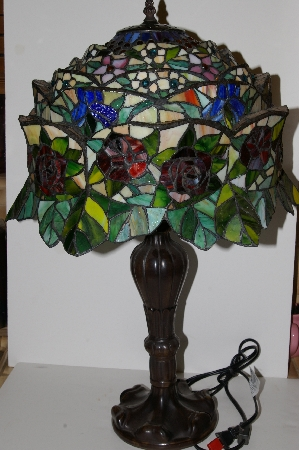 "**MBA #S30-027   ""Garden Of Roses Stained Glass Table Lamp"""