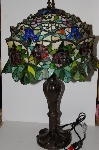 """SOLD""  MBA #S30-027   ""Garden Of Roses Stained Glass Table Lamp"""