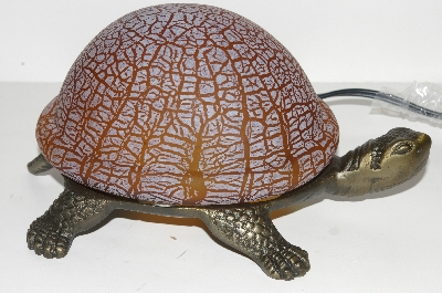 "MBA #S30-092  ""2003 Brown Lighted Crackle Turtle Accent Lamp"""