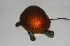 "+MBA #S30-073   ""2003 Amber Lighted Crackle Turtle Accent Lamp"""